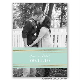 Dashing Design - Gold - Foil Save the Date Card