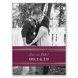 Dashing Design - Rose Gold - Foil Save the Date Card