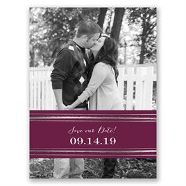 Dashing Design - Silver - Foil Save the Date Card