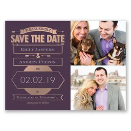 Please kindly foil save the date card invitations by dawn please kindly rose gold foil save the date card filmwisefo