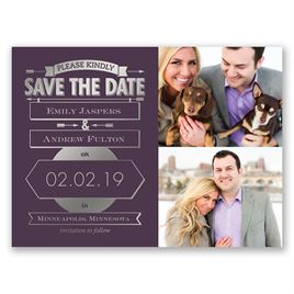 Please Kindly - Silver - Foil Save the Date Card