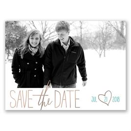 Hearts Shine - Rose Gold - Foil Save the Date Card