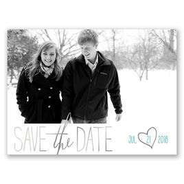 Hearts Shine - Silver - Foil Save the Date Card