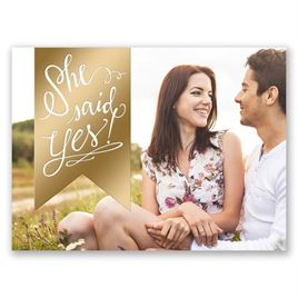 Bright Banner - Gold - Foil Save the Date Card