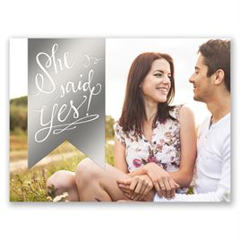 Bright Banner - Silver - Foil Save the Date Card