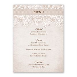Lace Lining - Menu Card
