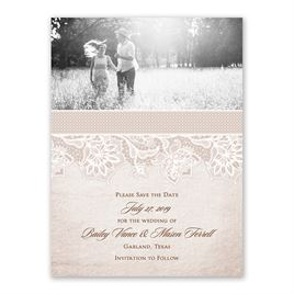 Lace Lining - Save the Date Card