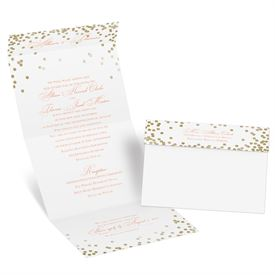 gold wedding invitations gold polka dots seal and send invitation - White And Gold Wedding Invitations