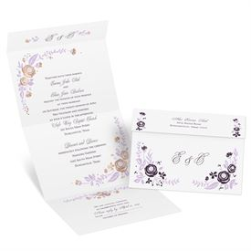 Roses and Whimsy - Rose Gold Foil - Seal and Send Invitation