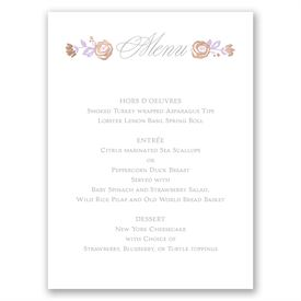 Roses and Whimsy - Rose Gold Foil - Menu Card