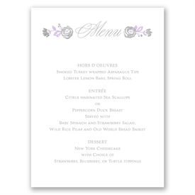 Roses and Whimsy - Silver Foil - Menu Card