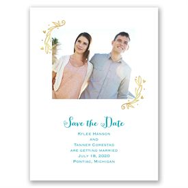 Naturally Heartfelt - Gold Foil - Save the Date Card
