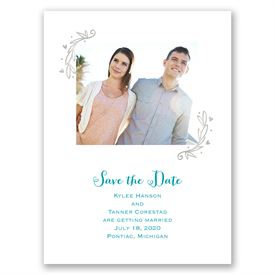 Naturally Heartfelt - Silver Foil - Save the Date Card