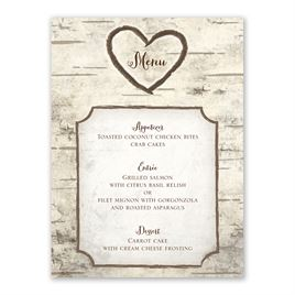 Birch Tree Carvings - Menu Card