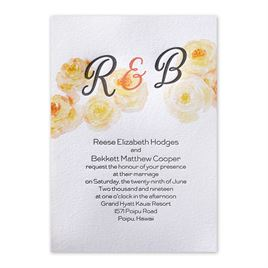 Watercolor Blossoms - Corabell - Letterpress Invitation