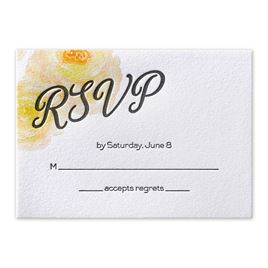 Watercolor Blossoms - Corabell - Letterpress Response Card