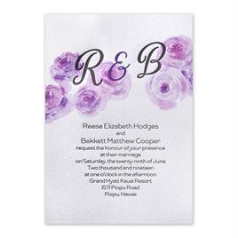 Watercolor Blossoms - Pastel Purple - Letterpress Invitation