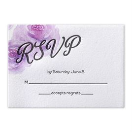Watercolor Blossoms - Pastel Purple - Letterpress Response Card
