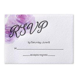 Watercolor Blossoms - Pastel Purple - Letterpress Response Card