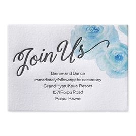 Watercolor Blossoms - Palm - Letterpress Reception Card