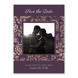 Vintage Flair - Rose Gold - Foil Save the Date Card
