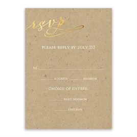 Wedding Response Cards: Rustic Glow Foil Response Card