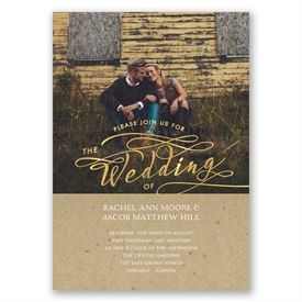 Rustic Glow - Gold Foil - Invitation
