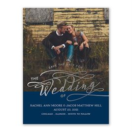 Rustic Glow - Silver - Foil Save the Date Card