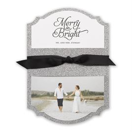 The Colin Cowie Holiday Collection: Silver Sparkle Real Glitter Holiday Card