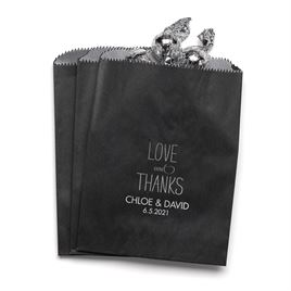 Love and Thanks - Black - Favor Bags