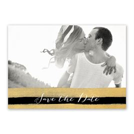 Sparkle and Stripes - Black - Save the Date Card
