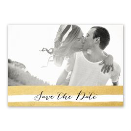 Sparkle and Stripes - Gold - Save the Date Card