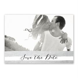 Sparkle and Stripes - Silver - Save the Date Card