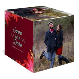 Vintage Poinsettias - Brick - Holiday Save the Date Photo Cube