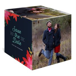 Vintage Poinsettias - Navy - Save the Date Photo Cube
