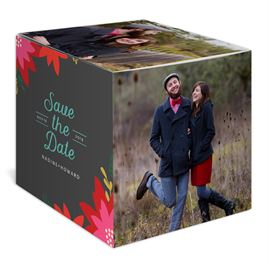 Vintage Poinsettias - Pewter - Holiday Save the Date Photo Cube