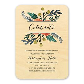 Floral Fancy - Real Wood Reception Card