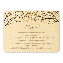real wood wedding invitations sparkling canopy real wood invitation with foil - Wood Wedding Invitations