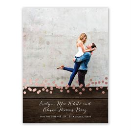 Rustic Beauty - Rose Gold - Foil Save the Date Card