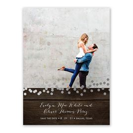 Rustic Beauty - Silver - Foil Save the Date Card