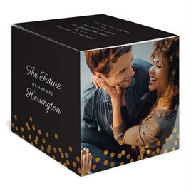 Polka Dot Wishes - Gold - Foil Save the Date Photo Cube