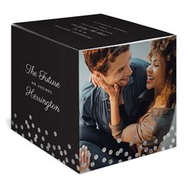 Polka Dot Wishes - Silver - Foil Save the Date Photo Cube