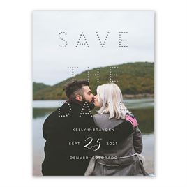 Connect the Dots - Silver - Foil Save the Date Card