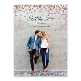 Polka Dot Glow - Rose Gold - Foil Save the Date Card