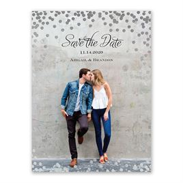 Polka Dot Glow - Silver - Foil Save the Date Card