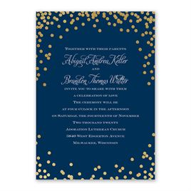 Polka Dot Glow - Gold - Foil Invitation