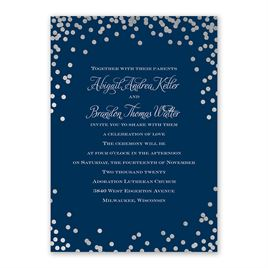 Polka Dot Glow - Silver - Foil Invitation