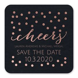 Cheers - Black - Foil Save the Date Coaster