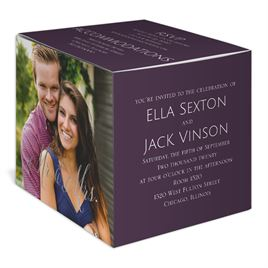 Happy Couple - Silver - Foil Photo Cube Invitation