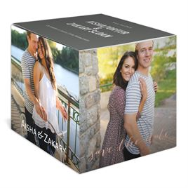 Block the Date - Rose Gold - Foil Photo Cube Save the Date